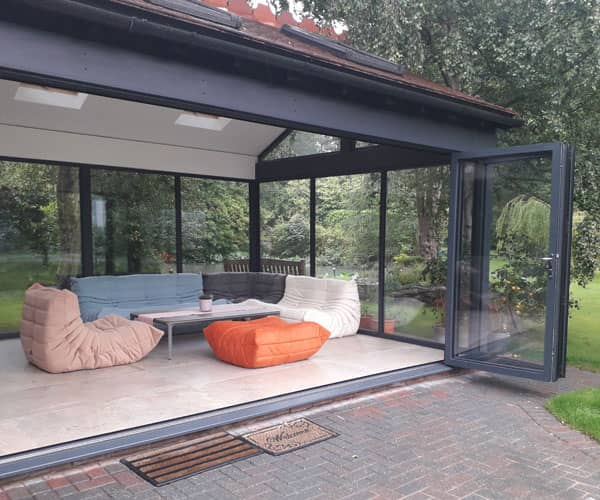 Chester house with designer furniture in conservatory